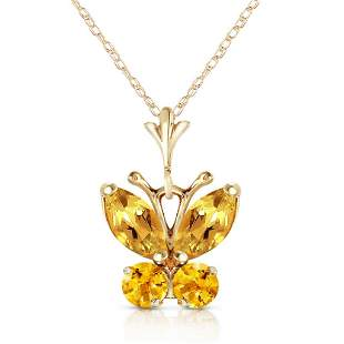 0.6 Carat 14K Solid Gold Butterfly Necklace Citrine