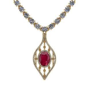9.00 Ctw SI2/I1 Ruby And Diamond 14K Yellow Gold Neckla