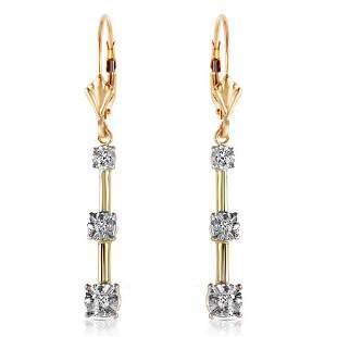 0.2 Carat 14K Solid Gold Leverback Diamond Earrings