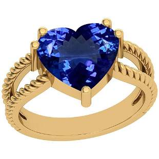 4.43 Ctw Tanzanite Platinum 14K Yellow Gold Plated Ring