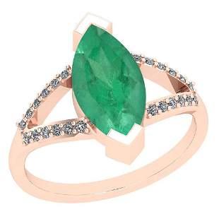 6.33 Ctw Emerald And Diamond I2/I3 14K Rose Gold Vintag