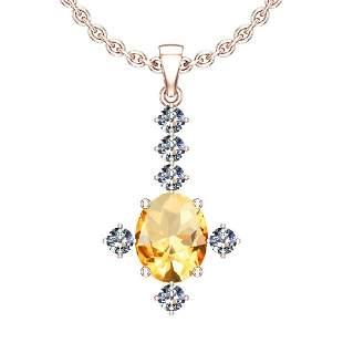 0.41 Ctw VS/SI1 Citrine And Diamond 10K Rose Gold Neckl