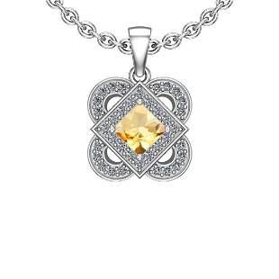 1.66 Ctw VS/SI1 Citrine And Diamond 10K White Gold Neck