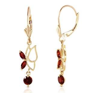 0.8 CTW 14K Solid Gold Butterfly Earrings Garnet