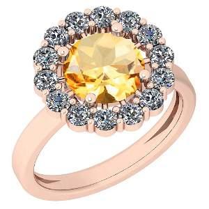 2.96 Ctw Citrine And Diamond I2/I3 10K Rose Gold Vintag