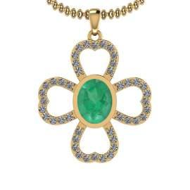 1.66 Ctw I2/I3 Emerald And Diamond 14K Yellow Gold Neck