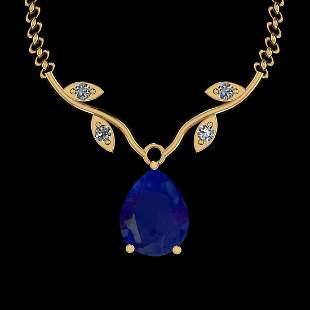 2.13 Ctw VS/SI1 Blue Sapphire And Diamond 14K Yellow Go