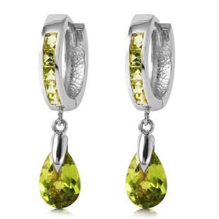 3.9 Carat 14K Solid White Gold Huggie Earrings Dangling