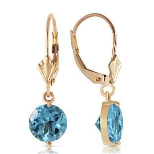 3.1 CTW 14K Solid Gold Prettygirl Blue Topaz Earrings