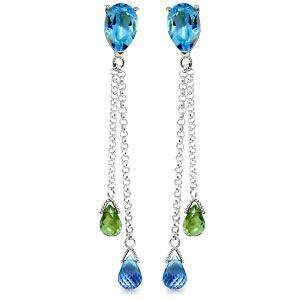 7.5 Carat 14K Solid White Gold Chandelier Earrings Blue