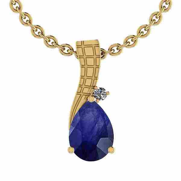 0.78 Ctw VS/SI1 Blue Sapphire And Diamond 14K Yellow Go