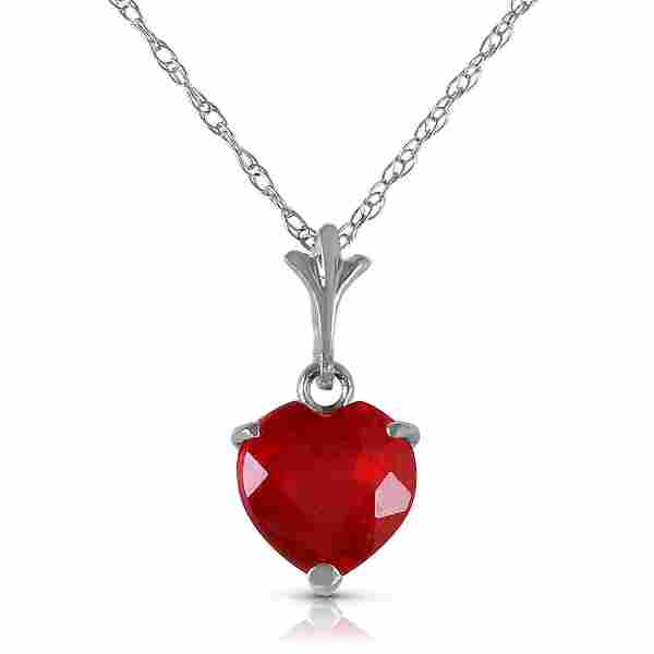 1.45 Carat 14K Solid White Gold Necklace Natural Heart