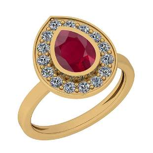 1.77 Ctw Ruby And Diamond SI2/I1 14K Yellow Gold Vintag