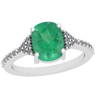 2.89 Ctw VS/SI1 Emerald And Diamond Platinum Vintage St