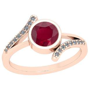 1.10 Ctw Ruby And Diamond SI2/I1 14K Rose Gold Vintage
