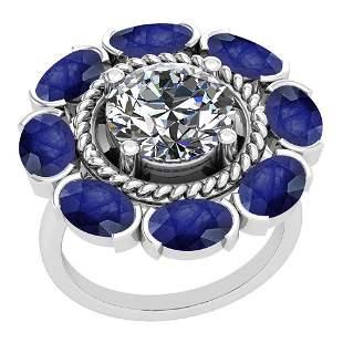 5.00 Ctw I2/I3 Blue Sapphire And Diamond 14K White Gold