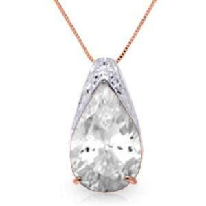 5 Carat 14K Solid Rose Gold Ocean White Topaz Necklace