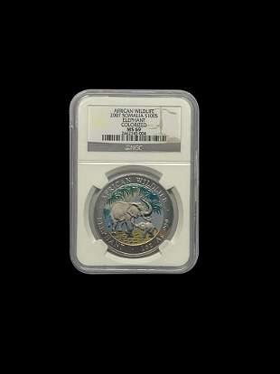 Somalia 1 oz Silver Elephant 2007 S100S MS69 Colorized
