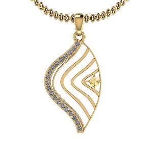 0.18 Ctw VS/SI1 Citrine And Diamond 10K Yellow Gold Nec