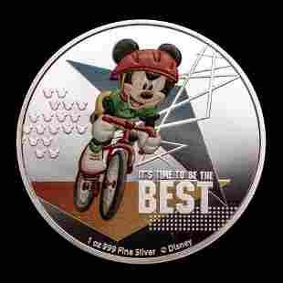 2020 Niue 1 oz Silver $2 Disney Mickey Mouse: Cycling
