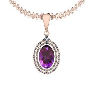 Certified 11.46 Ctw I2/I3 Amethyst And Diamond 14K Rose
