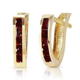 1.3 Carat 14K Solid Gold Oval Huggie Earrings Garnet
