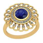 1.49 Ctw Blue Sapphire And Diamond I2/I3 14K Yellow Gol