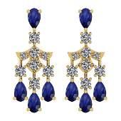 7.55 Ctw I2/I3 Blue Sapphire And Diamond 14K Yellow Gol