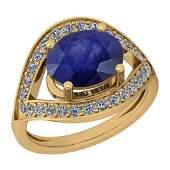 2.42 Ctw Blue Sapphire And Diamond I2/I3 14K Yellow Gol