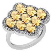 4.80 Ctw Citrine And Diamond I2/I3 10K White Gold Vinta