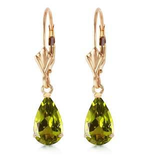 3 CTW 14K Solid Gold Green Grass Peridot Earrings