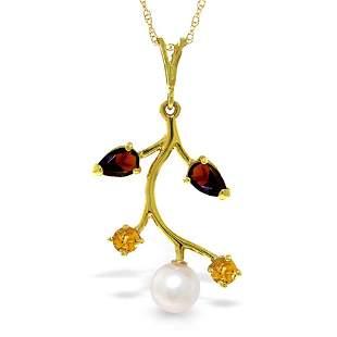 2.7 CTW 14K Solid Gold Necklace Garnet, Citrine pearl