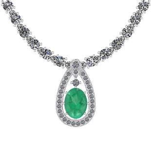 20.93 Ctw I2/I3 Emerald And Diamond 14K White Gold Neck