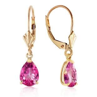 2.85 Carat 14K Solid Gold Garden Party Pink Topaz Earri