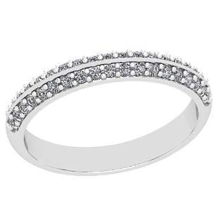 0.22 Ctw Diamond I2/I3 14K White Gold Band Ring