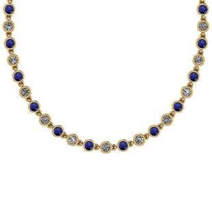 4.04 Ctw SI2/I1 Blue Sapphire And Diamond Style Bezel S