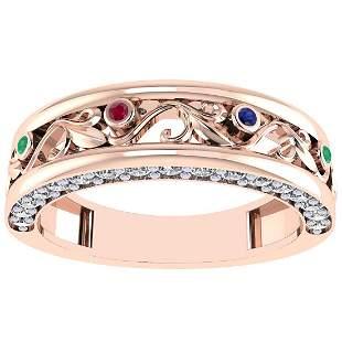 0.49 Ctw VS/SI1 Multi Ruby,Emerald,Sapphire And Diamond