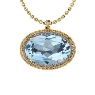 27.46 Ctw I2/I3 Blue Topaz And Diamond 14K Yellow Gold