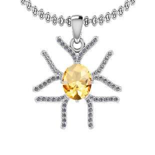 2.91 Ctw VS/SI1 Citrine And Diamond 10K White Gold Neck