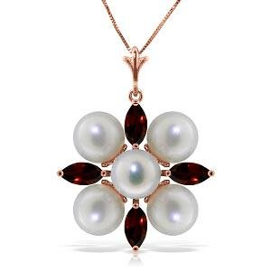 6.3 CTW 14K Solid Rose Gold Snowflake pearl Emerald Nec