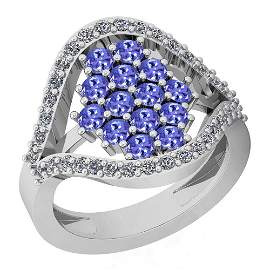 1.57 Ctw VS/SI1 Tanzanite And Diamond Platinum Ring