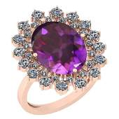 6.14 Ctw Amethyst And Diamond SI2/I1 14k Rose Gold Vict