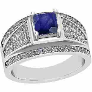 1.20 Ctw Blue Sapphire And Diamond I2/I3 14K White Gold