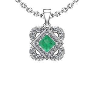 0.41 Ctw VS/SI1 Emerald And Diamond 14K White Gold