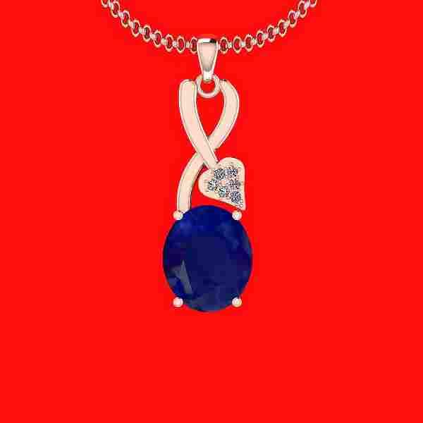 5.27 Ctw VS/SI1 Blue Sapphire And Diamond 14K Rose Gold