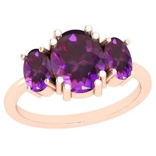 3.00 Ctw Amethyst 14K Rose Gold Vintage Style Ring