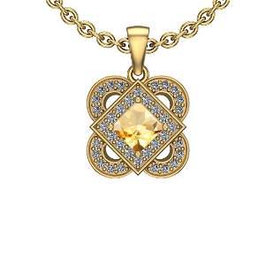 1.66 Ctw VS/SI1 Citrine And Diamond 10K Yellow Gold Nec
