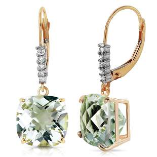 7.35 Carat 14K Solid Gold Leverback Earrings Diamond Gr
