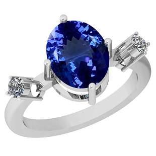 3.39 Ctw VS/SI1 Tanzanite And Diamond Platinum Ring