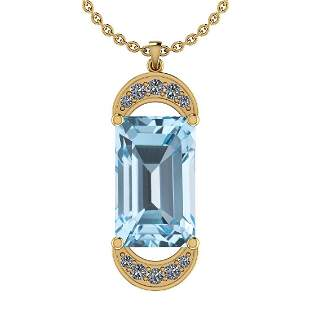 18.14 Ctw I2/I3 Blue Topaz And Diamond 14K Yellow Gold
